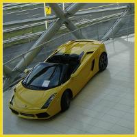 Lamborghini in a car showroom