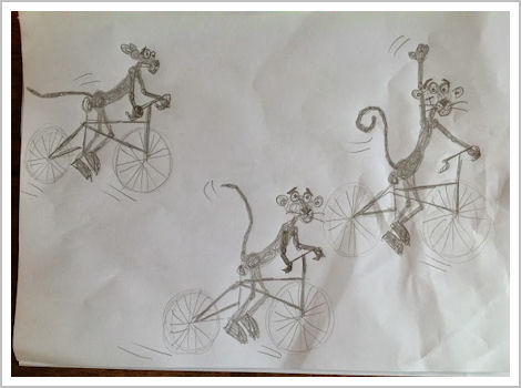 Henneke's drawings of Pink Panther on a bike