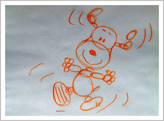 Drawing showing how Snoopy consists of circles