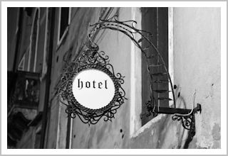 Old-fashioned hotel sign