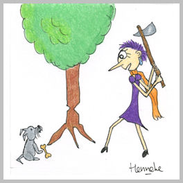 Henrietta axing a tree