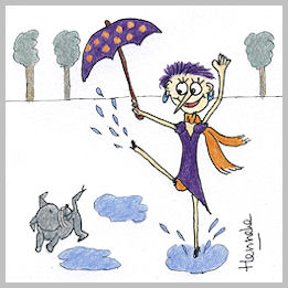 Henrietta singing in the rain