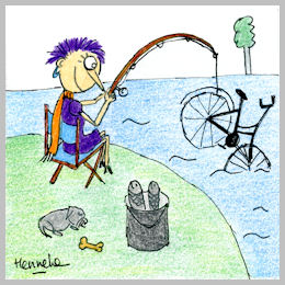 Henrietta catches a bike instead of a fish