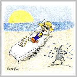 Henrietta lounging at the beach