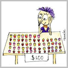 Henrietta selling cupcakes