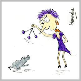 Henrietta hypnotizes her dog