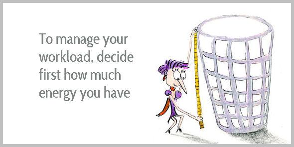 To manage your workload you must decide how much time and energy you have first