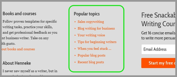 page footer with popular topics