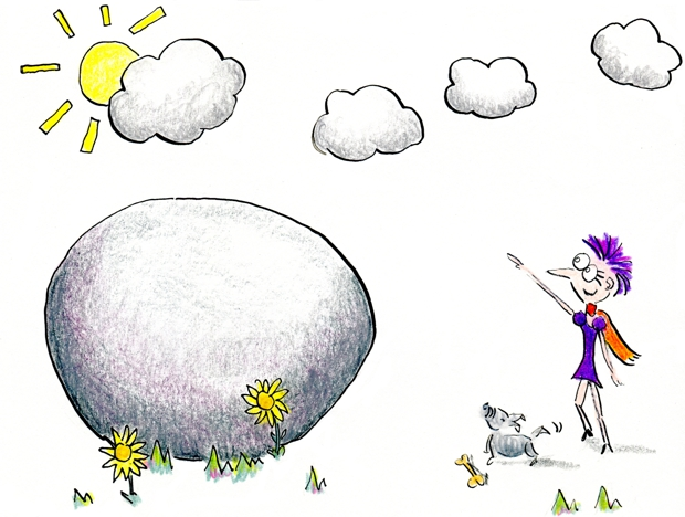 As Henrietta steps back from the boulder, she sees the sun shining behind the clouds