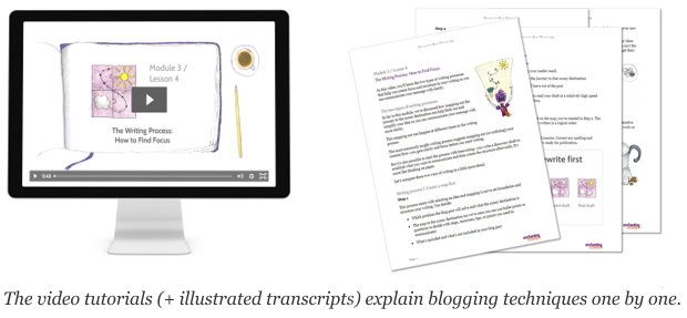 video tutorials explain blog writing techniques one by one, and illustrated transcripts are available